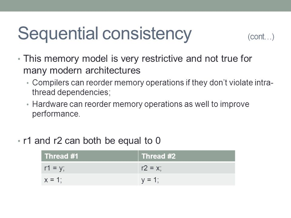 Sequential consistency (cont…) This memory model is very restrictive and not true for many modern architectures Compilers can reorder memory operations if they don't violate intra- thread dependencies; Hardware can reorder memory operations as well to improve performance.