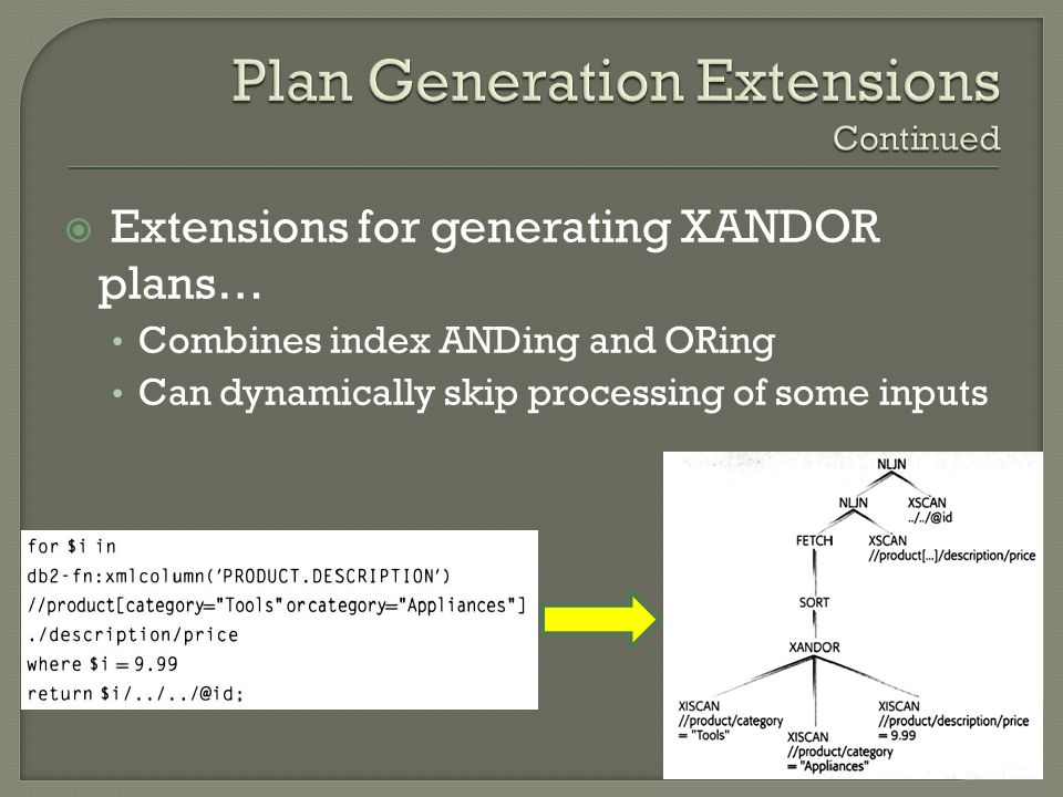  Extensions for generating XANDOR plans… Combines index ANDing and ORing Can dynamically skip processing of some inputs