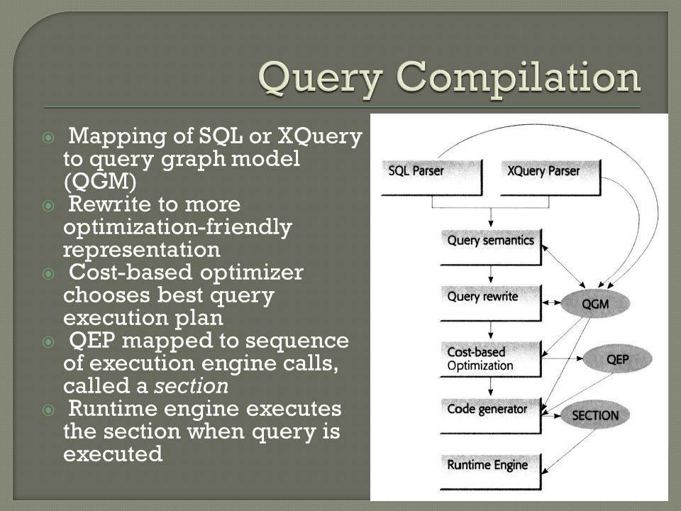 Mapping of SQL or XQuery to query graph model (QGM)  Rewrite to more optimization-friendly representation  Cost-based optimizer chooses best query execution plan  QEP mapped to sequence of execution engine calls, called a section  Runtime engine executes the section when query is executed