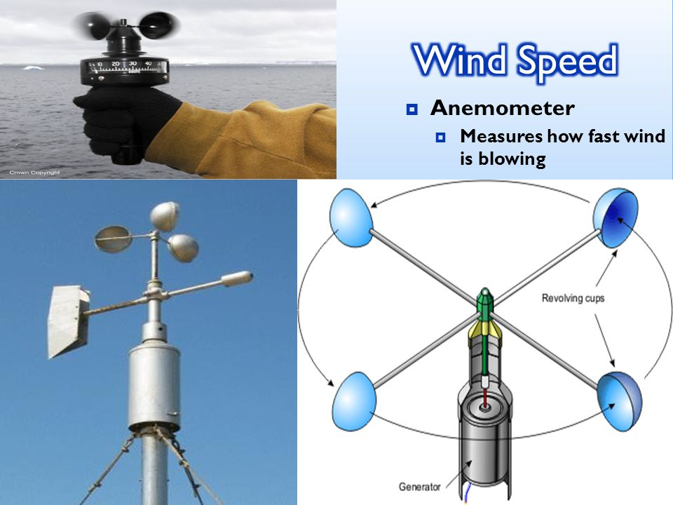  Anemometer  Measures how fast wind is blowing