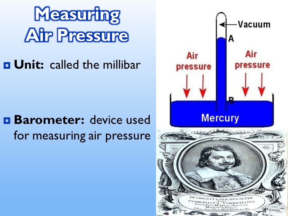  Unit: called the millibar  Barometer: device used for measuring air pressure
