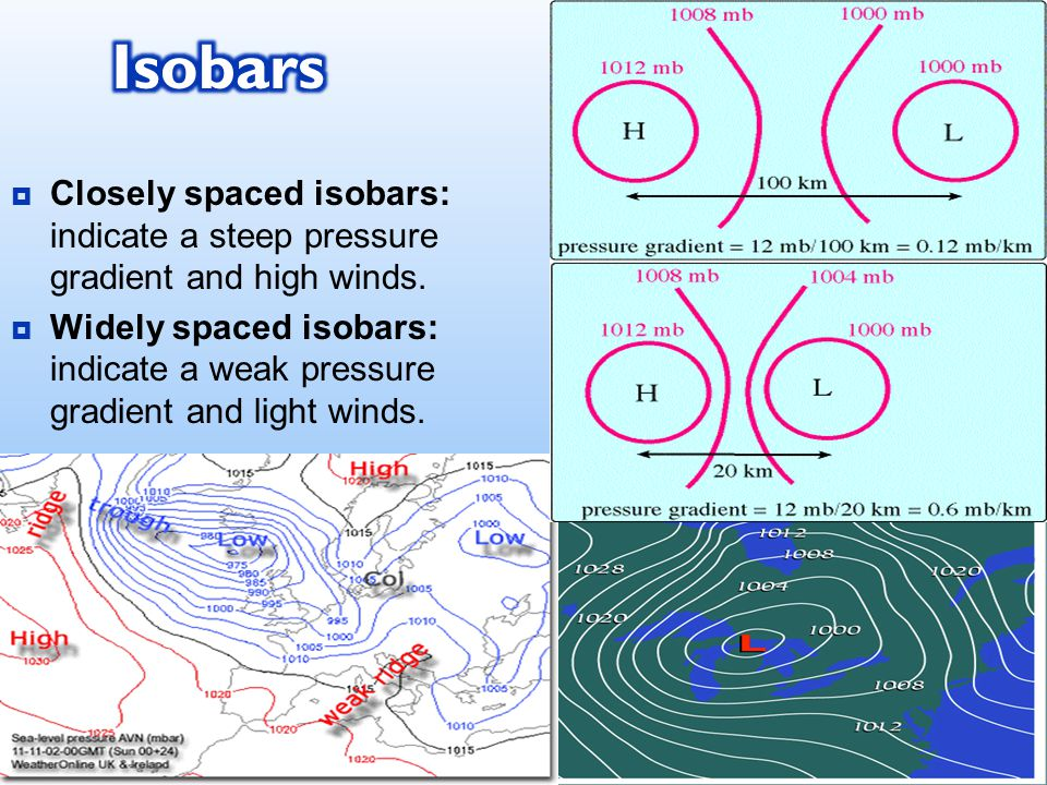  Closely spaced isobars: indicate a steep pressure gradient and high winds.
