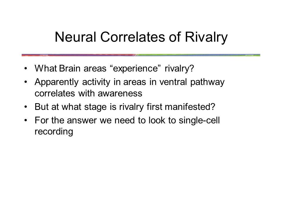 Neural Correlates of Rivalry What Brain areas experience rivalry.