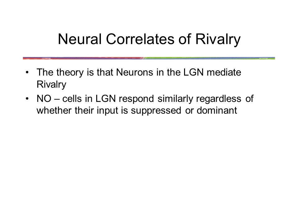 Neural Correlates of Rivalry The theory is that Neurons in the LGN mediate Rivalry NO – cells in LGN respond similarly regardless of whether their input is suppressed or dominant