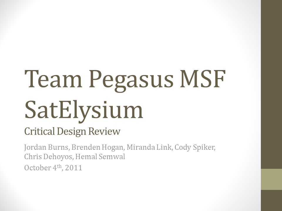 Pleasing Team Pegasus Msf Satelysium Critical Design Review Jordan Burns Wiring Digital Resources Almabapapkbiperorg