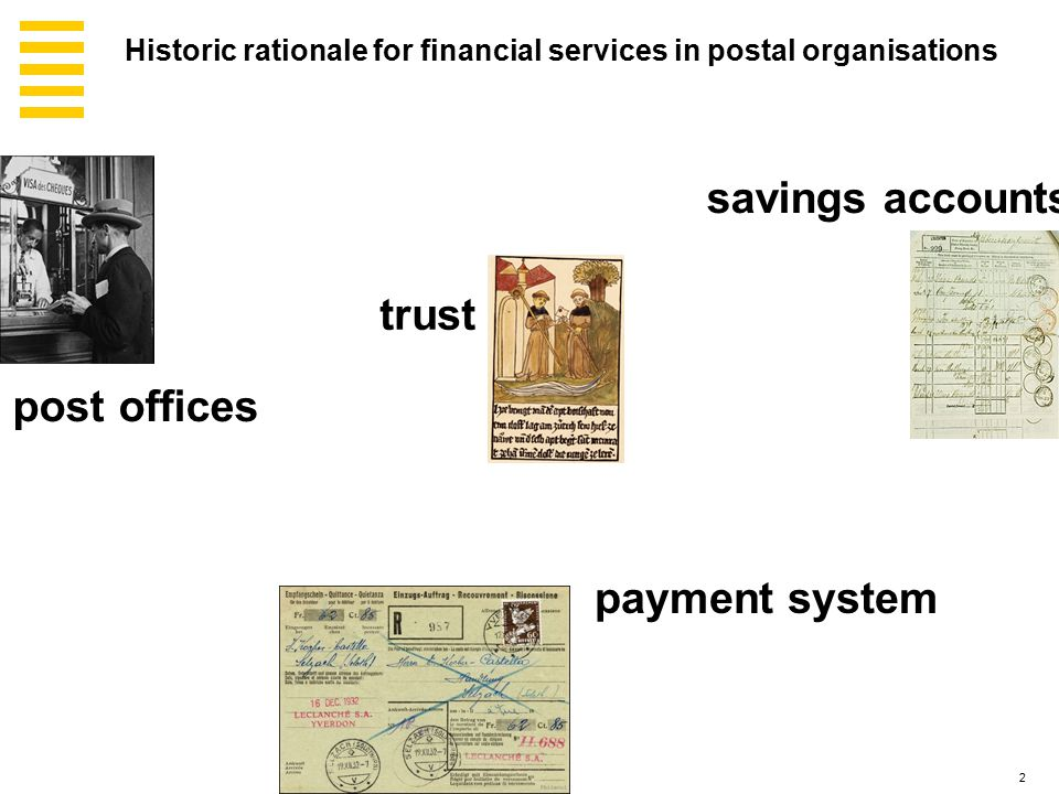 2 payment system post offices savings accounts trust Historic rationale for financial services in postal organisations