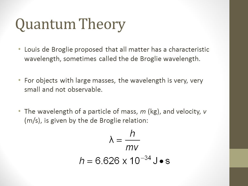 Quantum Theory Louis de Broglie proposed that all matter has a characteristic wavelength, sometimes called the de Broglie wavelength.