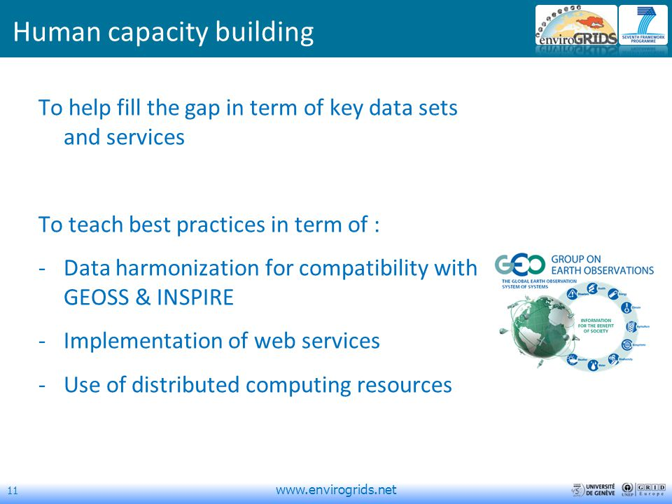 11   Human capacity building To help fill the gap in term of key data sets and services To teach best practices in term of : -Data harmonization for compatibility with GEOSS & INSPIRE -Implementation of web services -Use of distributed computing resources