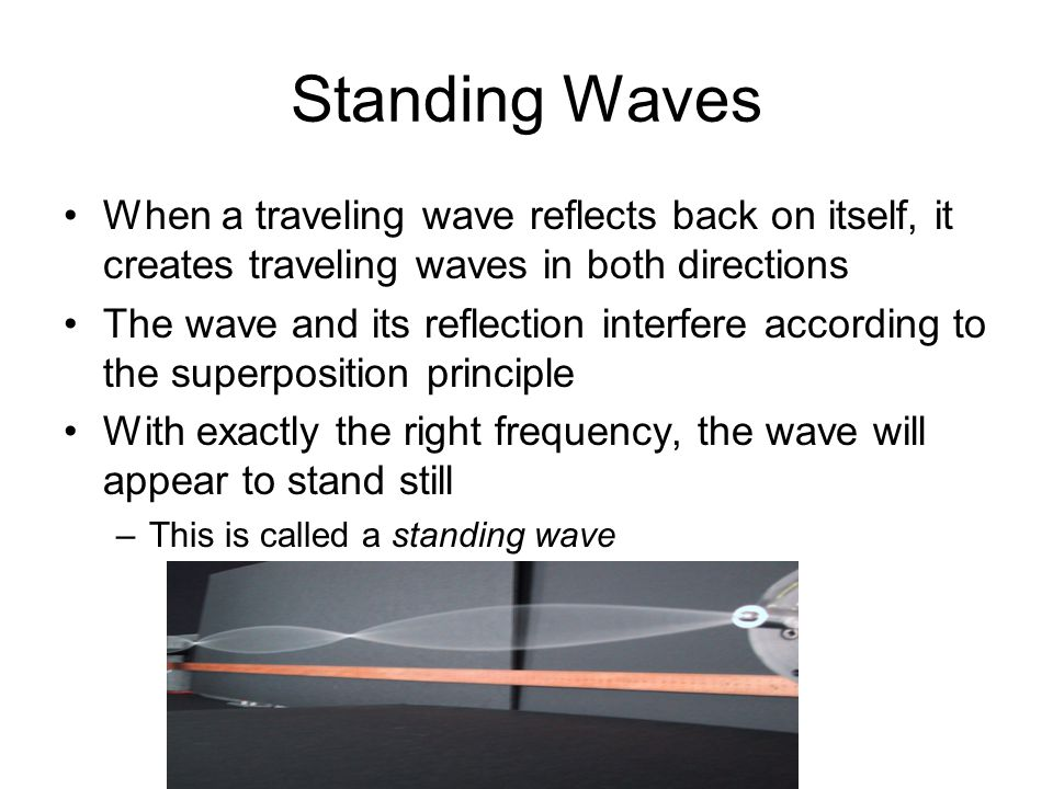 Standing Waves When a traveling wave reflects back on itself, it creates traveling waves in both directions The wave and its reflection interfere according to the superposition principle With exactly the right frequency, the wave will appear to stand still –This is called a standing wave