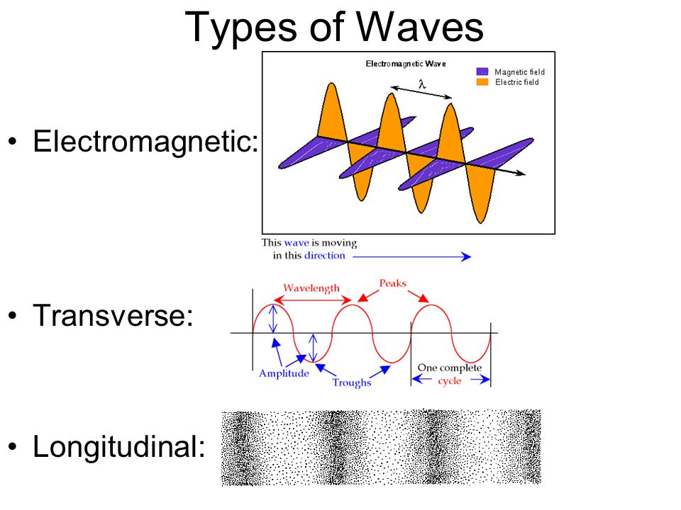 Types of Waves Electromagnetic: Transverse: Longitudinal: