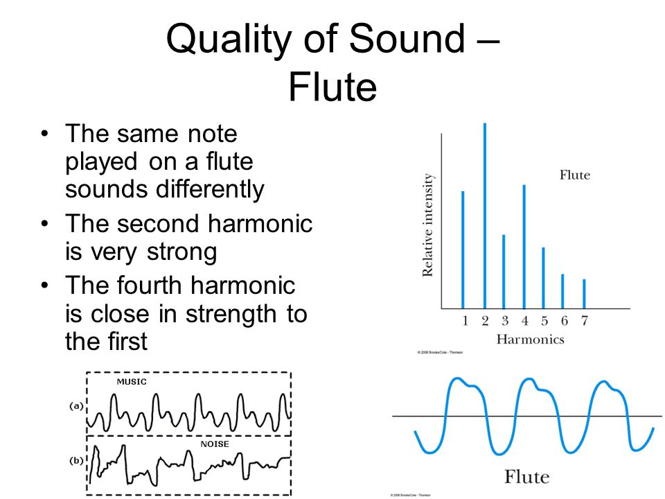 Quality of Sound – Flute The same note played on a flute sounds differently The second harmonic is very strong The fourth harmonic is close in strength to the first