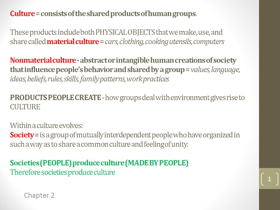 Culture = consists of the shared products of human groups.