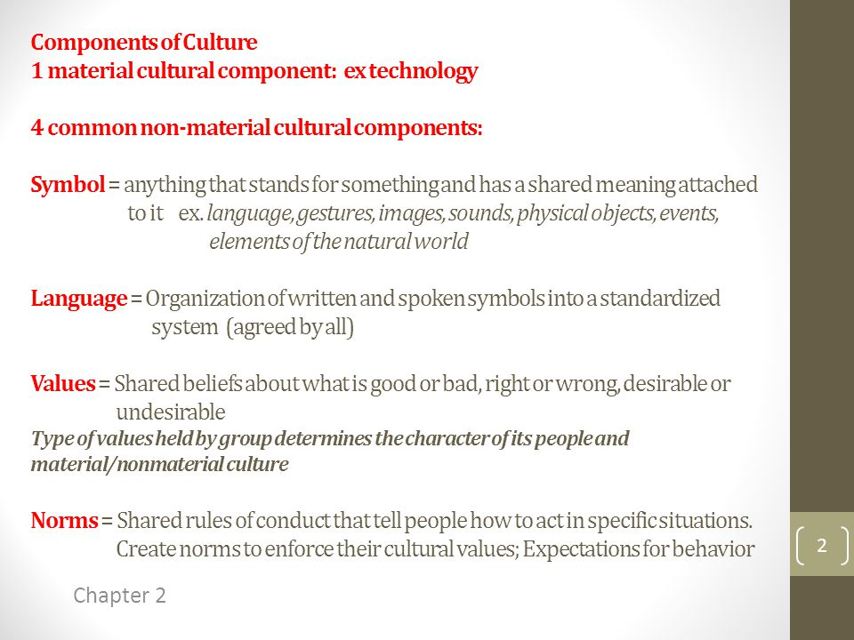 Components of Culture 1 material cultural component: ex technology 4 common non-material cultural components: Symbol = anything that stands for something and has a shared meaning attached to it ex.