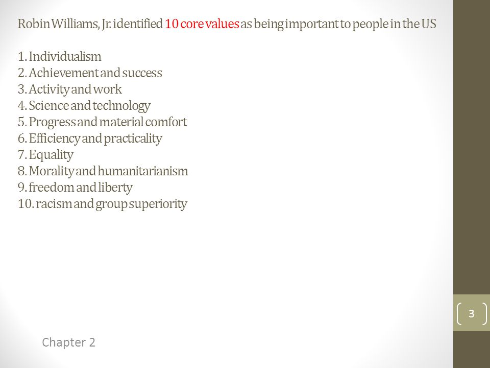 Robin Williams, Jr. identified 10 core values as being important to people in the US 1.