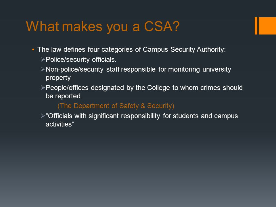 What makes you a CSA.