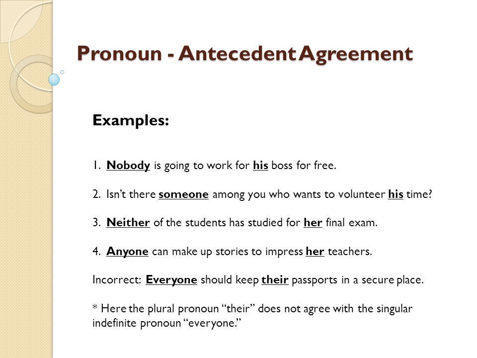 Pronoun antecedent agreement examples pronoun antecedent agreement.