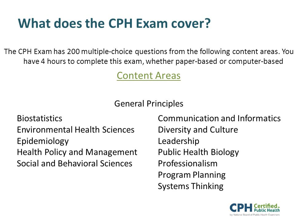 What does the CPH Exam cover.