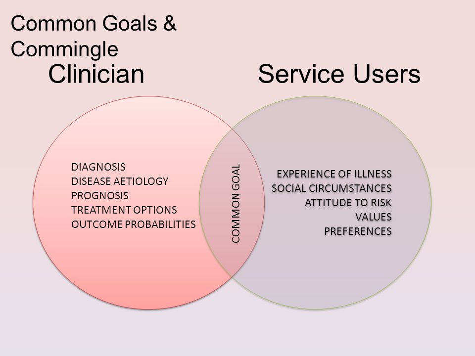 Clinician Service Users DIAGNOSIS DISEASE AETIOLOGY PROGNOSIS TREATMENT OPTIONS OUTCOME PROBABILITIES DIAGNOSIS DISEASE AETIOLOGY PROGNOSIS TREATMENT OPTIONS OUTCOME PROBABILITIES EXPERIENCE OF ILLNESS SOCIAL CIRCUMSTANCES ATTITUDE TO RISK VALUES PREFERENCES EXPERIENCE OF ILLNESS SOCIAL CIRCUMSTANCES ATTITUDE TO RISK VALUES PREFERENCES COMMON GOAL Common Goals & Commingle