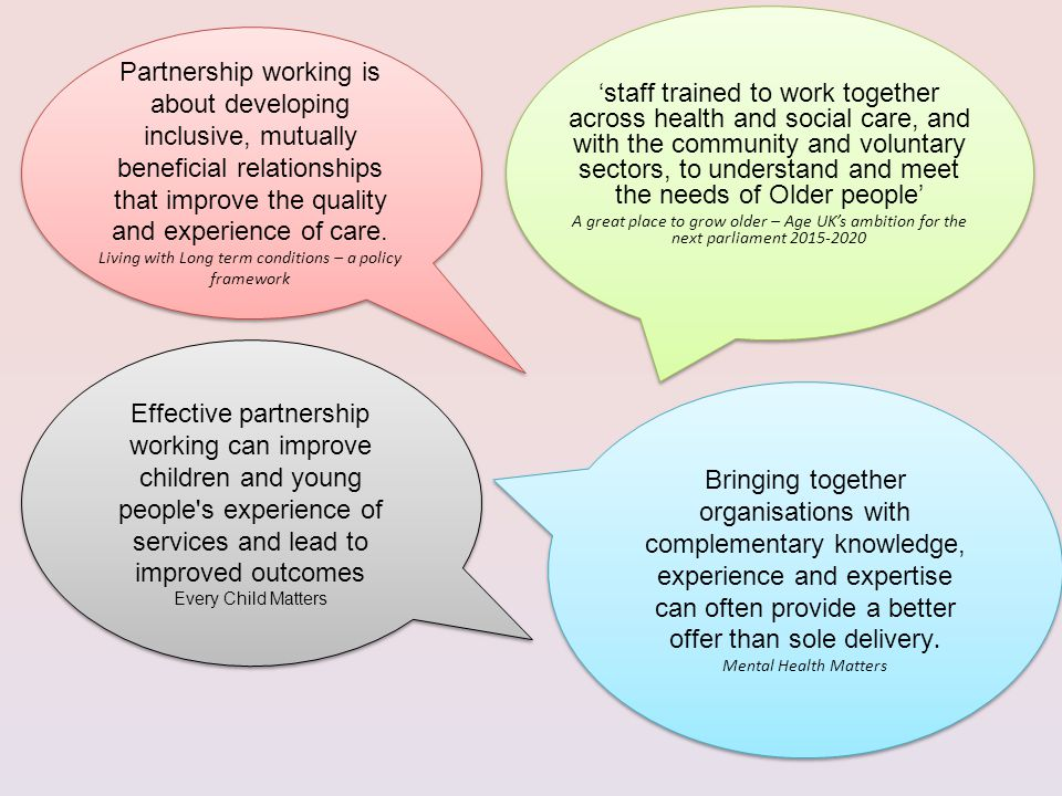 'staff trained to work together across health and social care, and with the community and voluntary sectors, to understand and meet the needs of Older people' A great place to grow older – Age UK's ambition for the next parliament Partnership working is about developing inclusive, mutually beneficial relationships that improve the quality and experience of care.