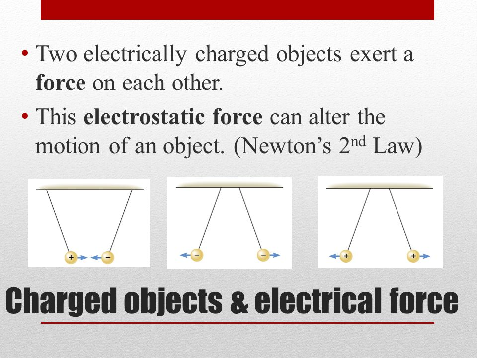Charged objects & electrical force Two electrically charged objects exert a force on each other.