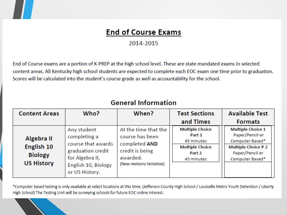 End Of Course EOC Spring BAC Training Ppt Download