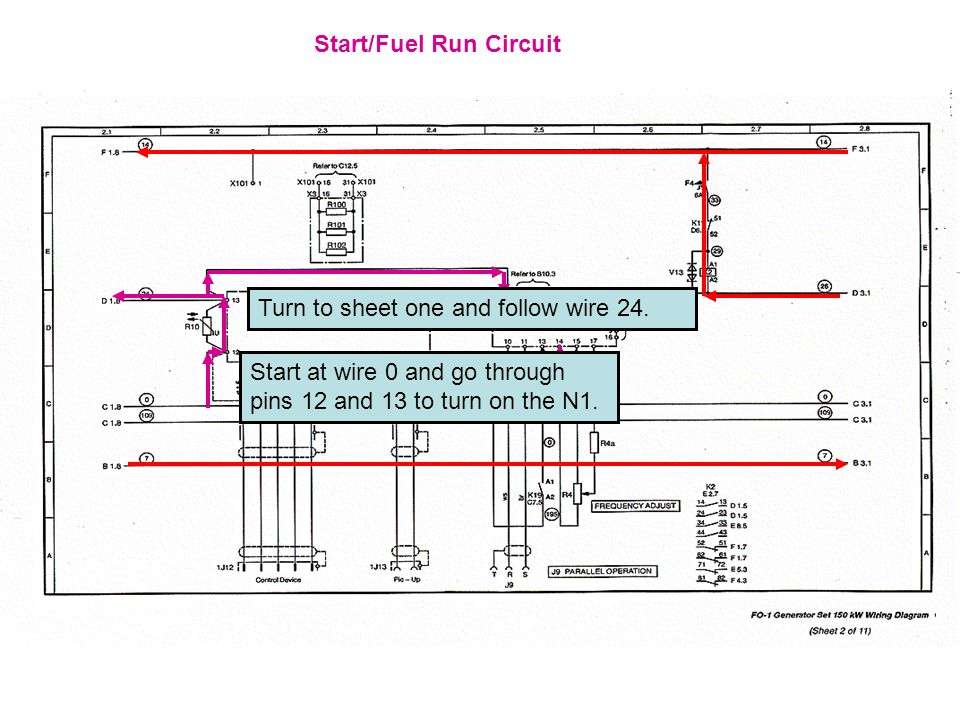 Start/Fuel Run Circuit Start at wire 0 and go through pins 12 and 13 to turn on the N1.