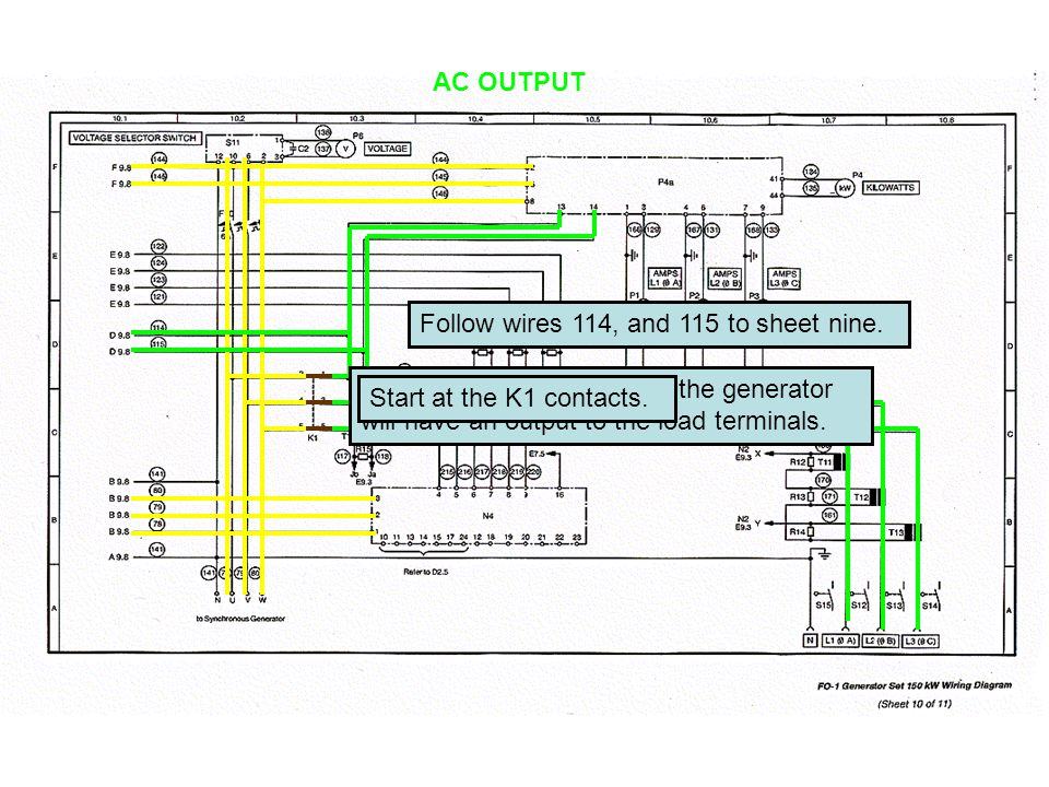 AC OUTPUT Close the K1 contacts now the generator will have an output to the load terminals.