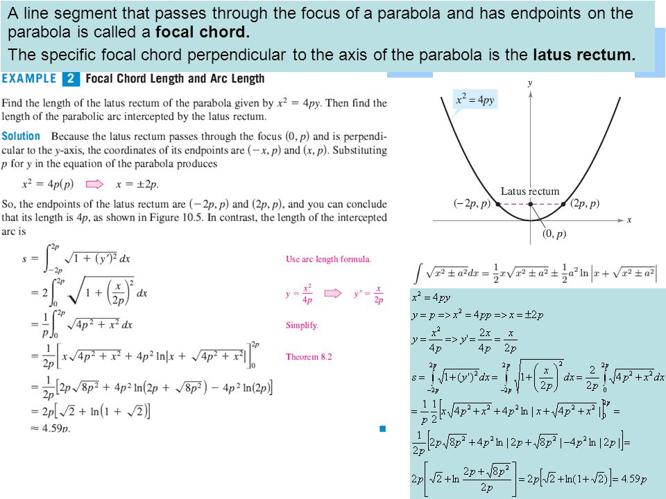 13 A line segment that passes through the focus of a parabola and has endpoints on the parabola is called a focal chord.
