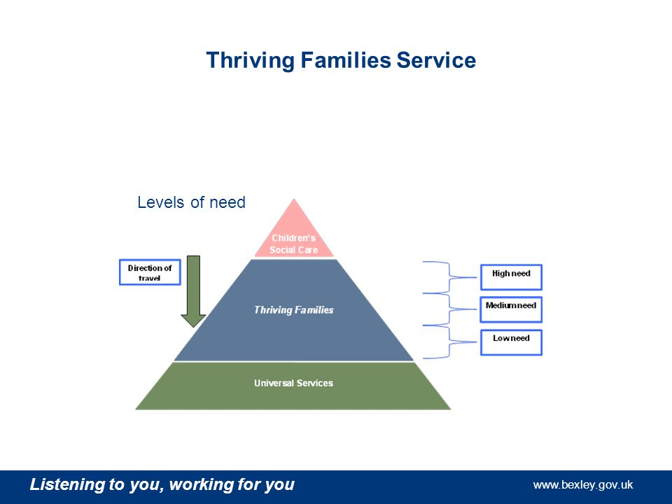 Listening to you, working for you   Listening to you, working for you   Listening to you, working for you   Thriving Families Service Levels of need