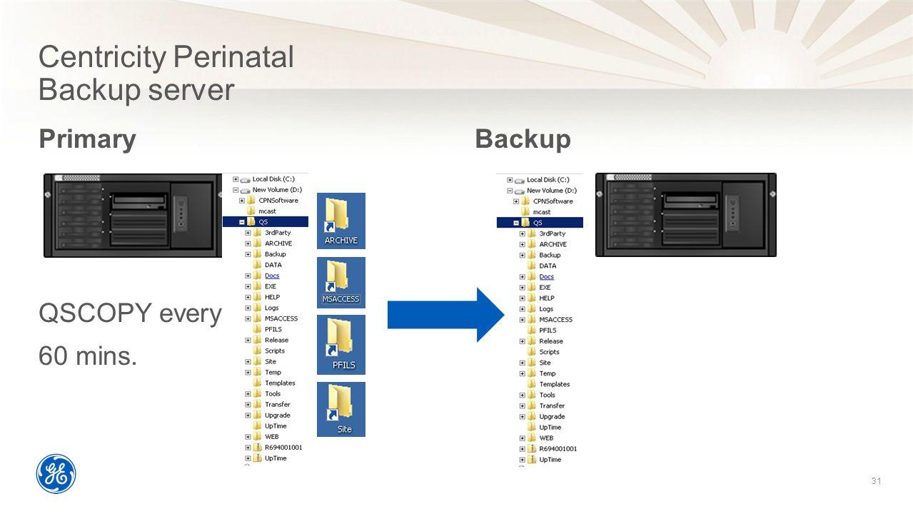 31 Centricity Perinatal Backup server 31 Primary QSCOPY every 60 mins.  Backup