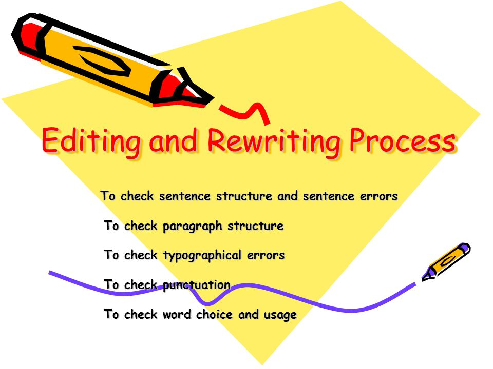 Editing and Rewriting Process To check sentence structure and sentence errors To check sentence structure and sentence errors To check paragraph structure To check paragraph structure To check typographical errors To check typographical errors To check punctuation To check punctuation To check word choice and usage To check word choice and usage