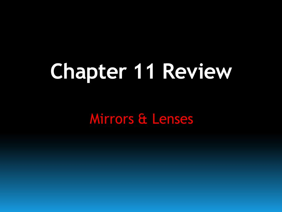 Chapter 11 Review Mirrors & Lenses