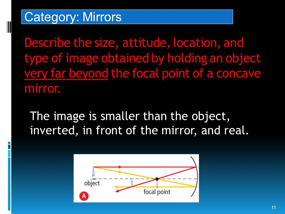 Describe the size, attitude, location, and type of image obtained by holding an object very far beyond the focal point of a concave mirror.