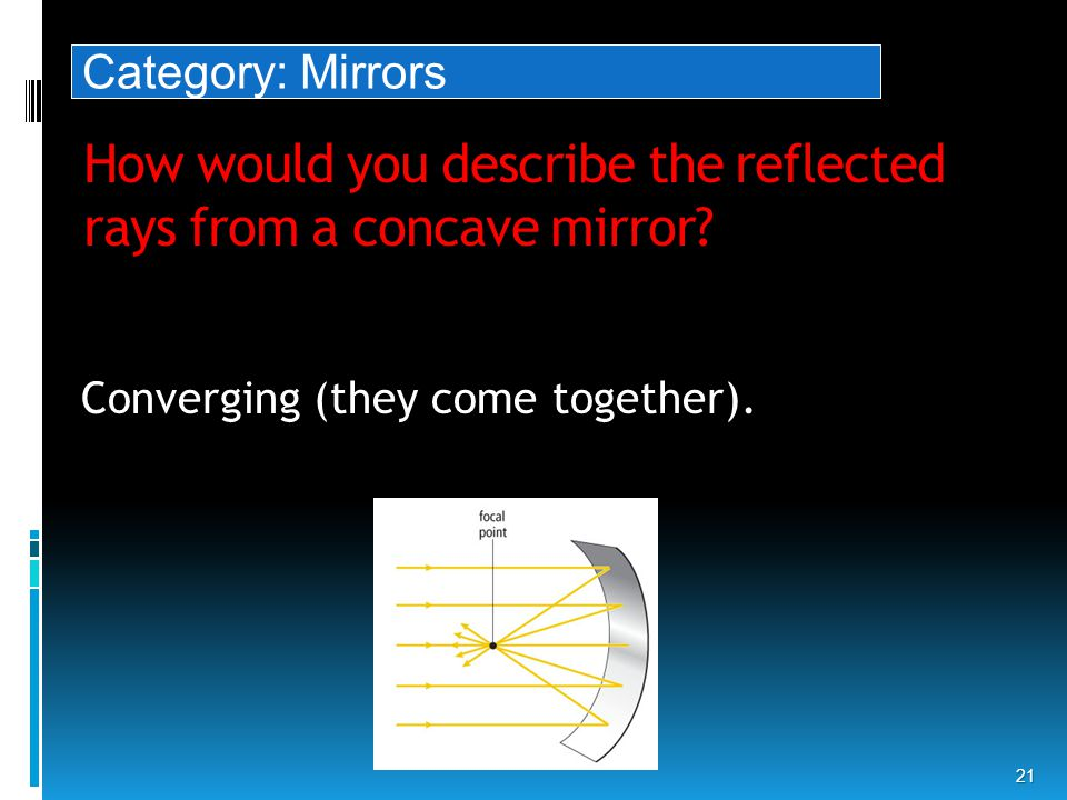 How would you describe the reflected rays from a concave mirror.