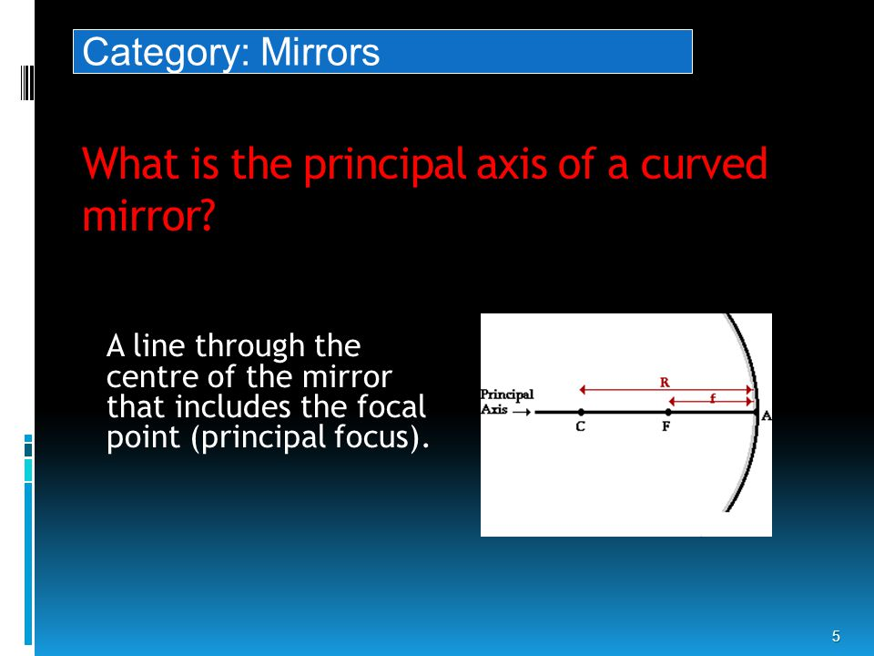 What is the principal axis of a curved mirror.