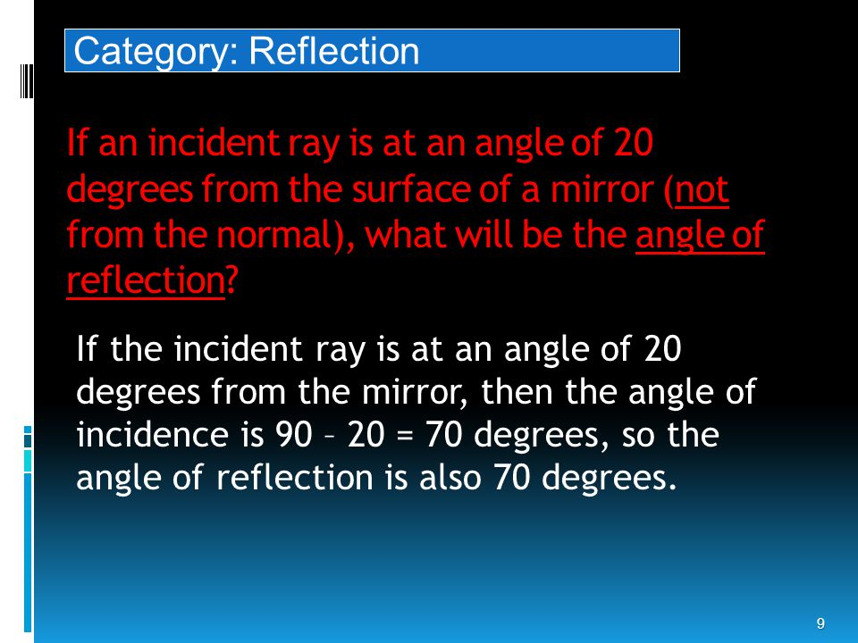 If an incident ray is at an angle of 20 degrees from the surface of a mirror (not from the normal), what will be the angle of reflection.