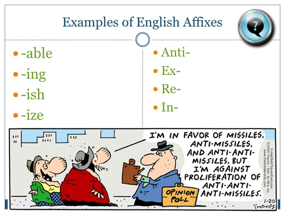 Examples of English Affixes -able -ing -ish -ize Anti- Ex- Re- In-