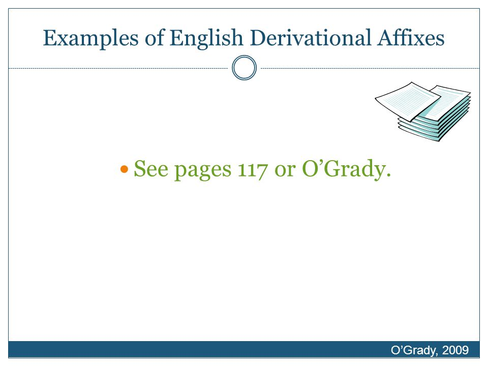 Examples of English Derivational Affixes See pages 117 or O'Grady. O'Grady, 2009