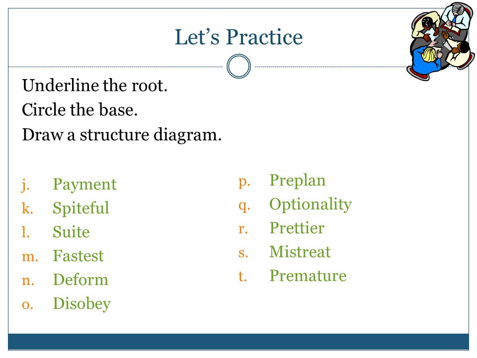 Let's Practice Underline the root. Circle the base.