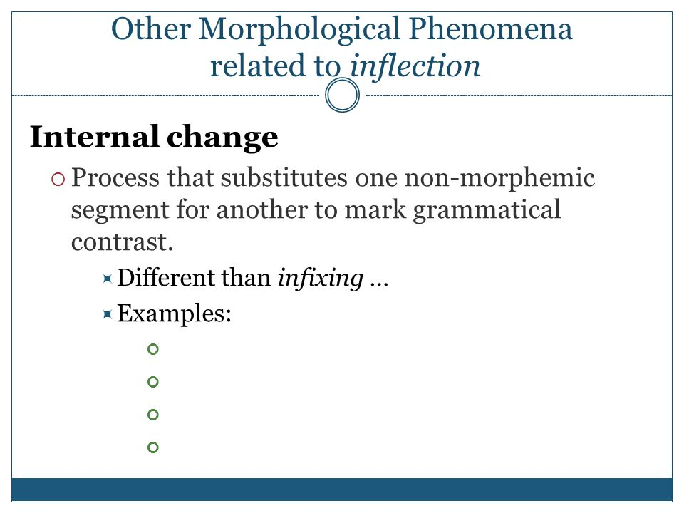 Other Morphological Phenomena related to inflection Internal change  Process that substitutes one non-morphemic segment for another to mark grammatical contrast.