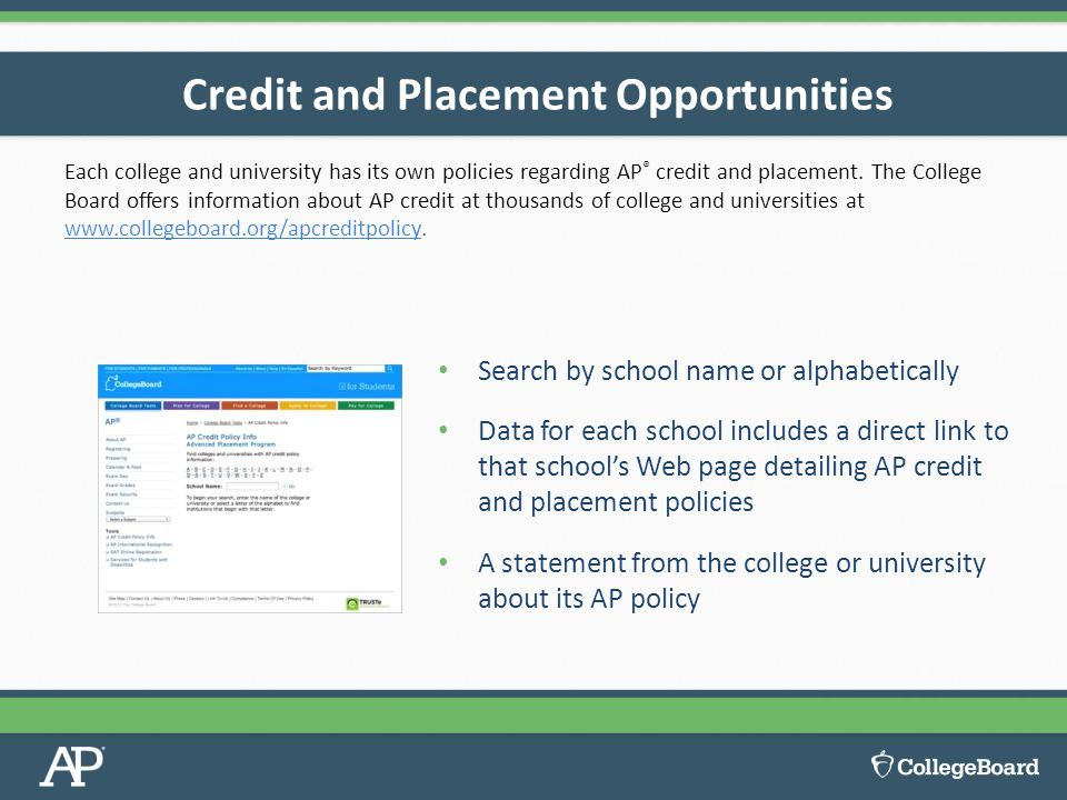 Each college and university has its own policies regarding AP ® credit and placement.