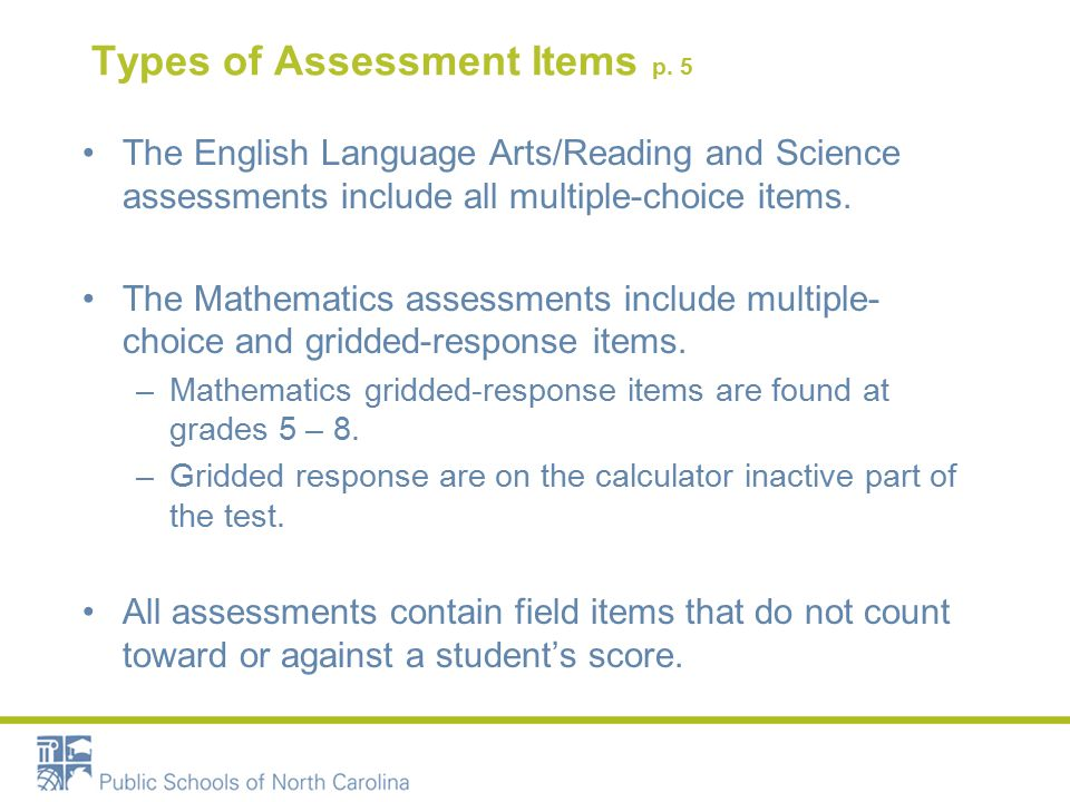 Types of Assessment Items p.