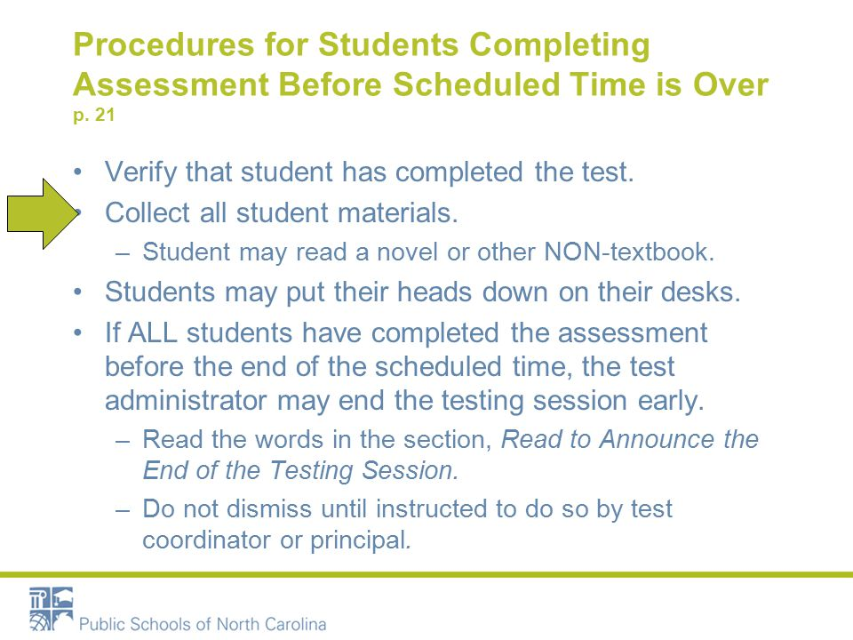 Procedures for Students Completing Assessment Before Scheduled Time is Over p.