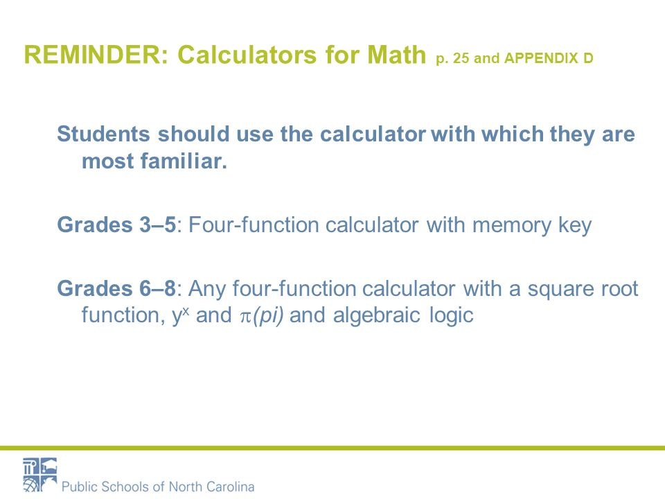 REMINDER: Calculators for Math p.