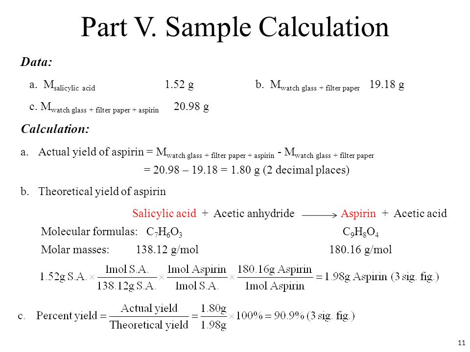 synthesis of aspirin percent yield