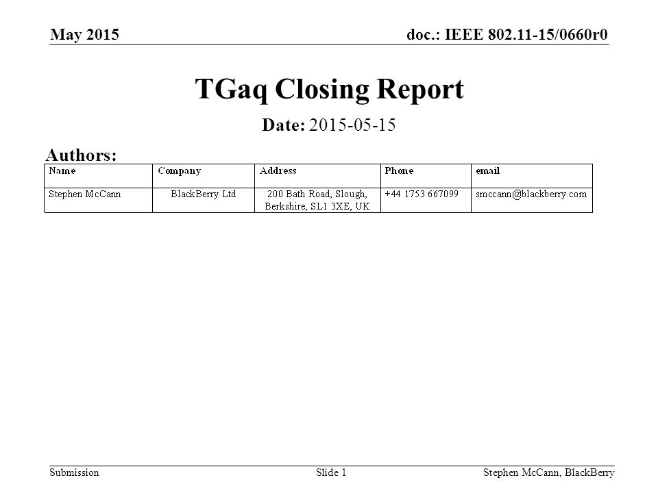 doc.: IEEE /0660r0 Submission May 2015 Stephen McCann, BlackBerrySlide 1 TGaq Closing Report Date: Authors: