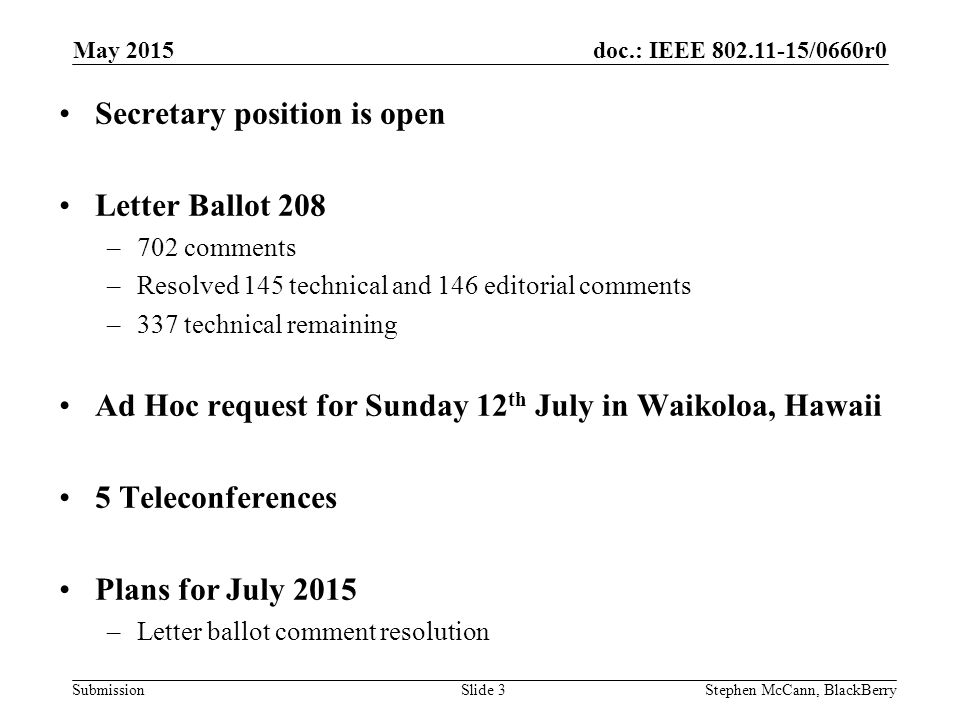 doc.: IEEE /0660r0 Submission May 2015 Stephen McCann, BlackBerrySlide 3 Secretary position is open Letter Ballot 208 –702 comments –Resolved 145 technical and 146 editorial comments –337 technical remaining Ad Hoc request for Sunday 12 th July in Waikoloa, Hawaii 5 Teleconferences Plans for July 2015 –Letter ballot comment resolution
