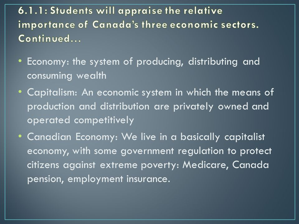 Economy: the system of producing, distributing and consuming wealth Capitalism: An economic system in which the means of production and distribution are privately owned and operated competitively Canadian Economy: We live in a basically capitalist economy, with some government regulation to protect citizens against extreme poverty: Medicare, Canada pension, employment insurance.