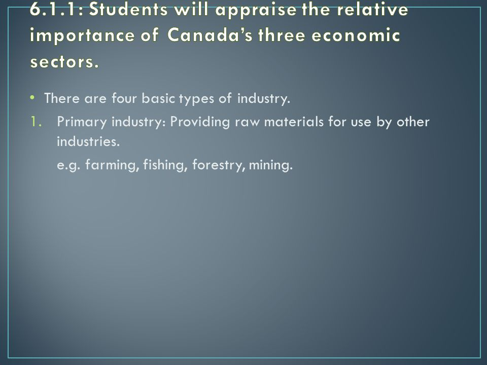 There are four basic types of industry.