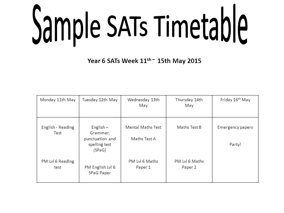 Year 6 SATs Week 11 th – 15th May 2015 Monday 11th MayTuesday 12th MayWednesday 13th May Thursday 14th May Friday 16 th May English - Reading Test PM Lvl 6 Reading test English – Grammar, punctuation and spelling test (SPaG) PM English Lvl 6 SPaG Paper Mental Maths Test Maths Test A PM Lvl 6 Maths Paper 1 Maths Test B PM Lvl 6 Maths Paper 2 Emergency papers Party!